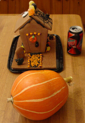 Gingerbread Haunted House with pumpkin